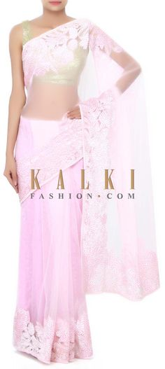 Buy Online from the link below. We ship worldwide (Free Shipping over US$100) Price- $229 Click Anywhere to Tag http://www.kalkifashion.com/baby-pink-saree-in-velvet-applique-work-only-on-kalki.html