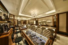 The store 'Abhishek Zaveri.' is an epitome of grandeur within the context of conventional and modern Indian high- end jewelry. Located in the Iscon Cen. Luxury Store, Shop Interior Design, Showroom, Online Publications, Layout, How To Plan, Architects, Modern, Table