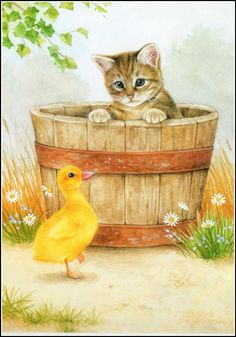 This is March, these sweet illustrations were on a cheap calander I had a few years ago. Art And Illustration, Cat Illustrations, I Love Cats, Cute Cats, Image Chat, Cat Drawing, Animal Drawings, Cat Art, Cats And Kittens