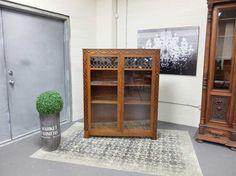 Antiques By Design - Victorian Quartered Oak Double Door Lead Glass Bookcase