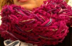 Fuchsia dream arm knitting scarf