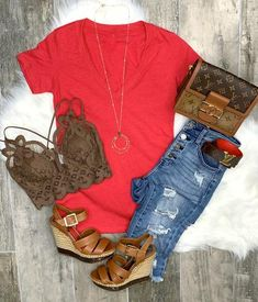 Rustic Outfits, Country Outfits, Mom Outfits, Summer Outfits Women, Spring Outfits, Cute Outfits, Fashion Outfits, Trendy Outfits, My Fashion