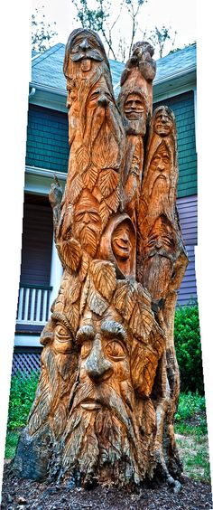 tree art I was riding down the White Horse Pike and the Tree Spirits reached out and touched me, I love this artists creation giving new life and meaning to a Chain Saw Art, Wood Sculpture, Metal Sculptures, Abstract Sculpture, Bronze Sculpture, Tree Carving, Wood Tree, Green Man, Tree Art