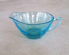 Vintage Mid Century Modern Hazel Atlas Glass Capri Blue Creamer / Cream Cup