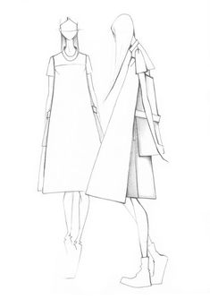 Fashion illustration - minimal fashion sketches // Minimal To for Peacebird Classy Fashion, Fall Fashion, Fashion Ideas, Trendy Fashion, New Fashion, Autumn Winter Fashion, Trendy Dresses, Fall Dresses, Elegant Dresses
