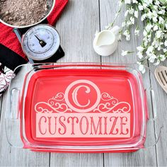 Casserole Dish - Personalized Pyrex Dish - All Products Customized Gifts, Personalized Gifts, Pyrex Casserole Dish, Mothers Day Presents, Jewelry Tray, Baking Dishes, Wedding Gifts, Laser Engraving, Gift Ideas