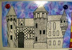 Fantasy Castle Design with Pattern & Warm or Cool Watercolor Background. 6th grade ...you could use either watercolors or pastels for the backgroud
