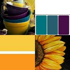 My official wedding colors. Teal and Dark purple are the main colors with accents of sunflower yellow
