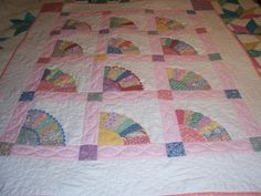 1930S Quilt Block Patterns | Lap quilt,old fashioned fan quilt pattern in pinks and 1930 fabric