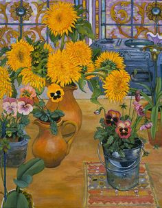 Christiane Kubrick ~ Sunflower, Pansies and Radio
