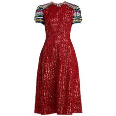 Mary Katrantzou Robin short-sleeved sequin-embellished dress ($2,405) ❤ liked on Polyvore featuring dresses, red multi, short sleeve cocktail dresses, red sequin cocktail dress, floral cocktail dresses, short sequin dress and short red dress