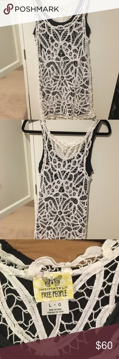 Free People Lace Dress Previously worn comes with a gray slip underneath. Can be worn for a spring or summer outfit or as a cover-up to the beach! No stains, rips, or tears and is in excellent condition. Open to reasonable offers through feature! No trades! Free People Dresses Mini