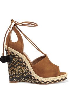 Black and gold wedge heel measures approximately 130mm/ 5 inches with a 20mm/ 1 inch platform Tan suede Ties at ankle Designer color: Cognac Made in Italy