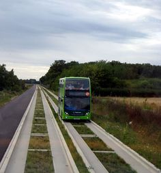 Stagecoach in Huntingdonshire bus 15657 (reg. AE10 HFA) pictured operating on the Cambridgeshire Guided Busway, on the stretch between Oakington and Longstanton. The parallel cycle path is on the left. visit the Slow Ottawa boards >> http://www.pinterest.com/slowottawa/