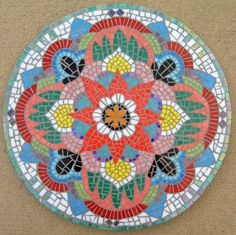 "Mosaic mandala 20"" shown. Specify colors and sizes by haleyarts $500 on etsy. Custom mosaics!"