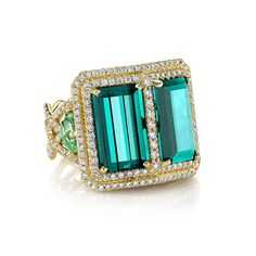 18K Yellow gold ring featuring 11.81 ctw. of Indicolite Tourmalines 2.60 ctw. of  Mint Tourmalines with 1.73 ctw. of Diamonds.