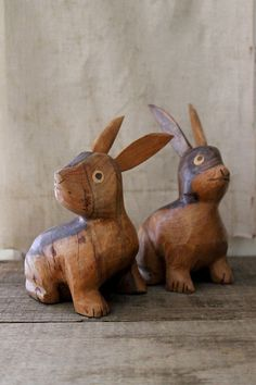 hand carved bunnies