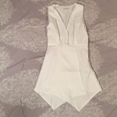 """Plunging White Mini Dress Gorgeous white dress from CUPSHE.com. Exactly the same as Tobi's Get Low romper (except it's a dress). Amazing fit, but a tiny bit too short in the back for me. Will work for you if you're shorter than 5'7""""! Second picture is me in the dress, third is the Tobi romper, and fourth is me in the romper. CUPSHE Dresses Mini"""