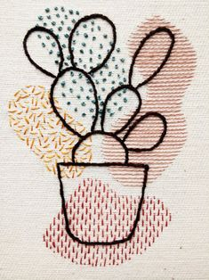 Hand Embroidery Patterns Flowers, Cactus Embroidery, Embroidery Stitches Tutorial, Simple Embroidery, Embroidery Hoop Art, Hand Embroidery Designs, Embroidery Ideas, Beginner Embroidery, Bead Crochet Patterns
