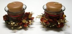 SET of TWO Glass Fall VOTIVE Holders by Meenchie82 on Etsy