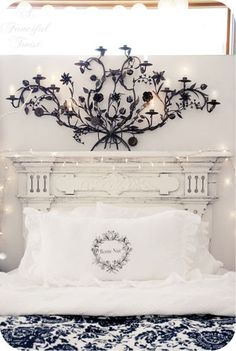 Fairy lights on a shabby French headboard. My Sweet Home Keka❤❤❤ My New Room, My Room, Mantle Headboard, Headboard Ideas, Dream Bedroom, Pretty Bedroom, Master Bedroom, Indie, Beautiful Bedrooms