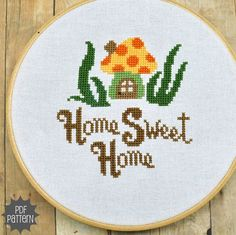 Gnome-ish Home Sweet Home Cross Stitch Pattern Download, sent by email. $4.00, via Etsy.