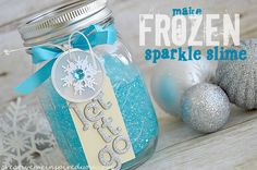 Frozen Sparkle Slime - CreativeMeInspiredYou.com kids crafts, sparkle, shimmer, blue, Frozen, movie, fun, DIY toys
