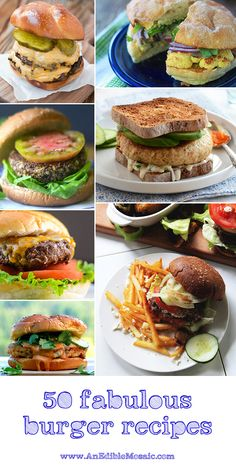 In the collage above, on the left, top to bottom:2 Secrets for the Best Burgers from Oh, Sweet Basil; Red Quinoa and Black Bean Veggie Burgers from The View From Great Island; Asian BBQ Burger wit...