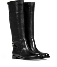 Black Calf Leather Boots with small Buckle Detail - Sergio Rossi...