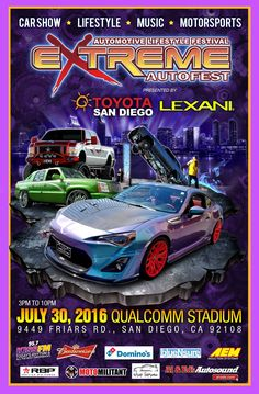 IT'S ALMOST HERE !!! Extreme Autofest July 30th, 2016 at Qualcomm Stadium in San Diego, Ca. Be sure to stop by the Al & Ed's Autosound booth to checkout our showcase, take a pic with the AE Street Team Models, and find out how you could win a free bass package courtesy of Cerwin Vega !!! #alnedsautosound #aestreetteam #aeeventcoordinator #aemodels #cerwinvega #diamondaudio #rockfordfosgate #alpine #focal #monster #kenwood #pioneer #dubir #dubwheels 