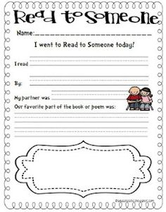 Seusstastic Classroom Inspirations: Daily 5 Read to Someone... This will help to keep the kiddos on task and responsible for their work!
