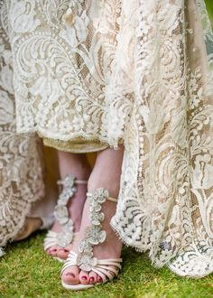 antique lace and jeweled wedding shoes, photo by Wedding Belles http://ruffledblog.com/english-countryside-wedding-inspiration #weddingshoes #lacedress