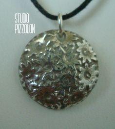 FINE SILVER PMC PENDANT, ANTIQUE BUTTON by STUDIO PIZZOLON, $39.95 USD