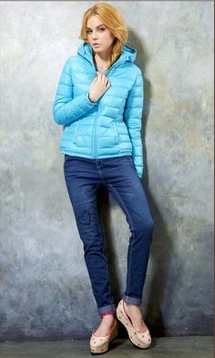 Womens Fashion High Quality Winter Candy Colors Hooded White Duck Down Coat Light Blue Parka Outwear