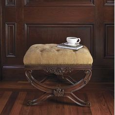 Our old-world style Lourdes Upholstered Bench works beautifully as a vanity stool or in pairs as occasional seats in a living area. This bench's hand-rubbed mahogany finish warmly complements each of the exquisite, yarn-dyed fabric selections while carved trim, antiqued-brass nailheads, and button tufting enhance its traditional style. Generous premium foam cushion and batting provide superior comfort and supportBronze: 100% silk with cotton/viscose backing; Ivory: 100% silk with…