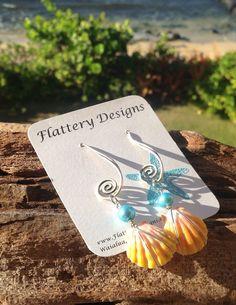 Gorgeous Hawaiian Sunrise Shell Earrings by FlatteryDesigns, $65.00
