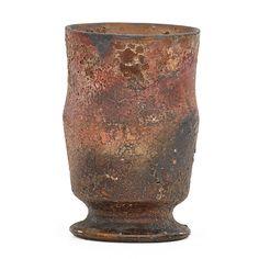 "GEORGE OHR Vase, volcanic glaze, Biloxi, MS, 1892-94 Stamped GEO. E. OHR BILOXI 4"" x 2 3/4"""