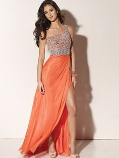 (NO.0242112 )2012 Style A-line One Shoulder Beading  Sleeveless Floor-length Chiffon Prom Dress / Evening Dress