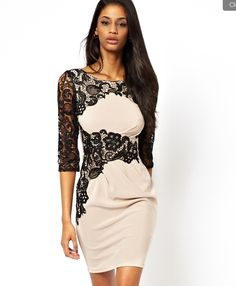 nude color dress with black lace!
