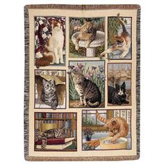 70x54 Sleeping CAT All Burned Out Tapestry Afghan Throw Blanket