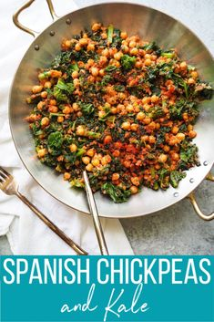 Spanish Chickpeas and Kale Recipe — Registered Dietitian Columbia SC - Rachael Hartley Nutrition - Spanish Chickpeas and Kale! This easy dish of sauteed kale and chickpeas is served is a rich tomato - Kale Recipes Vegan, Vegetable Recipes, Healthy Recipes, Cooked Kale Recipes, Vegan Food, Kale Dishes, Food Dishes, Tofu, How To Cook Kale