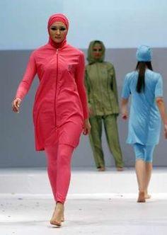 Cute for the summer for us Muslim gals :) Within the last few 30 years, Islamic Swimwear, Muslim Swimwear, Sports Hijab, Evolution Of Fashion, Modest Swimsuits, Islamic Fashion, Love Her Style, Hijab Fashion, Fasion