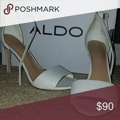 ALDO heels Super cute high heeled open toed white heels, only worn once. Aldo Shoes Heels