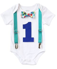 This set comes with the following Interchangeable Accessories: 1.Teal AdjustableSuspenders that Clip Onto Pants (Suspenders must be used with our bodysuit)2. Colorful TrianglesBow Tie3. Custom Build a Bodysuit™ 4. Red OR Royal BlueRemovable Number One (removable number allows you to use your bodysuit again after your party so you get your money's worth!) NUMBER IS AN ADHESIVE VINYL STICKER. IT IS REMOVABLE SO YOU MAY USE YOUR BODYSUIT WITH OR WITHOUT THE NUMBER. We include two numbers…
