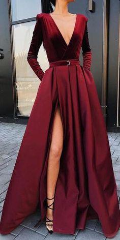 Burgundy V Neck Long Sleeves Side Slit Long Prom Dresses, SG157 #promdress #promdresses #longpromdress #longpromdresses