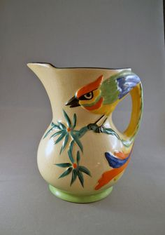 Vintage Pitcher from England with Tropical Bird