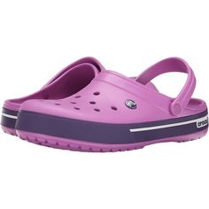 Crocs Crocband II.5 Clog (Wild Orchid/Royal Purple) Clog Shoes (510 UYU) ❤ liked on Polyvore featuring shoes, clogs, pink, slip-on shoes, slip on clogs, strappy shoes, croco shoes and breathable slip on shoes