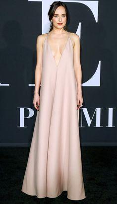 Dakota Johnson in a blush pink Valentino dress