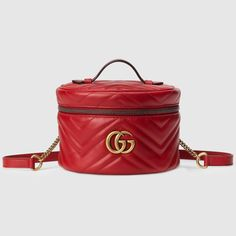 Gucci Gg Marmont Mini Backpack In Red Gucci Top, Gucci Gucci, Burberry, Gg Marmont, Gucci Marmont, Chevron Quilt, Exotic Flowers, Flower Fashion, Mini Backpack