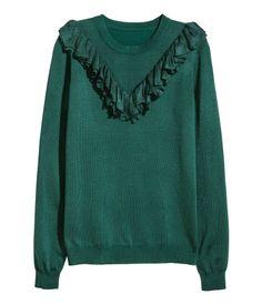 Finstickad tröja med volang | Mörkgrön | Dam | H&M SE